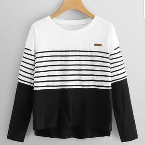Tops - Black and White Top with Stripes